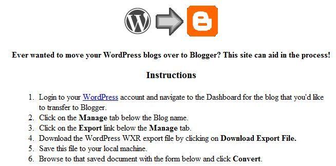 migrar do wordpress para o blogger
