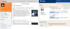 comparação do novo painel do blogger com o atual