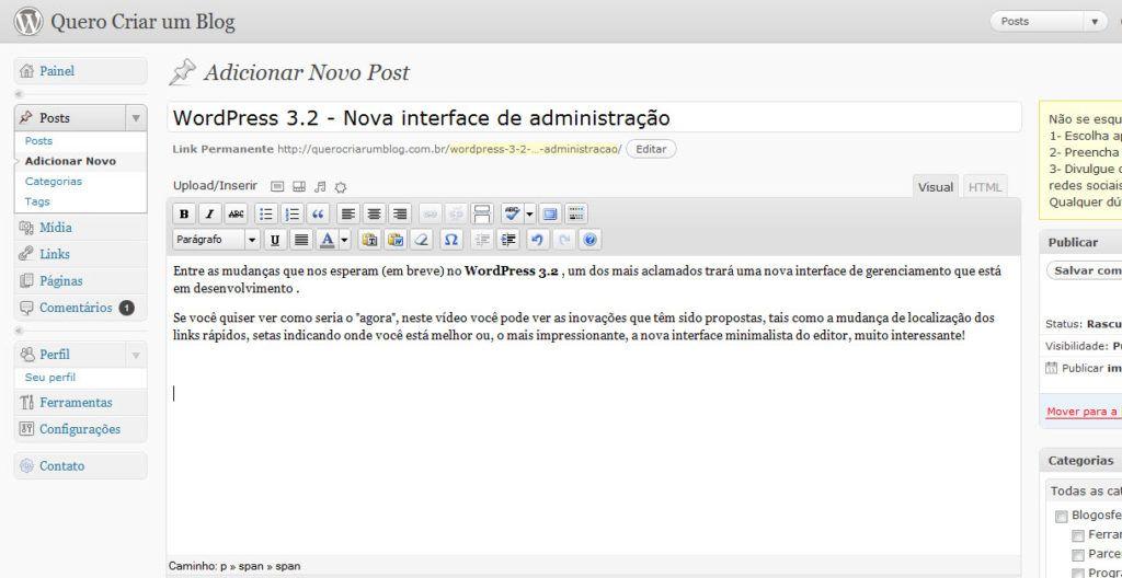 dashboard, wordpress, nova, interface, mudanças, painel, wp