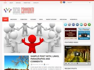 template, tema, wordpress, 2 colunas, social community