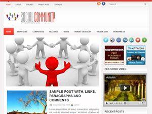 template, tema, wordpress, 2 colunas, social community