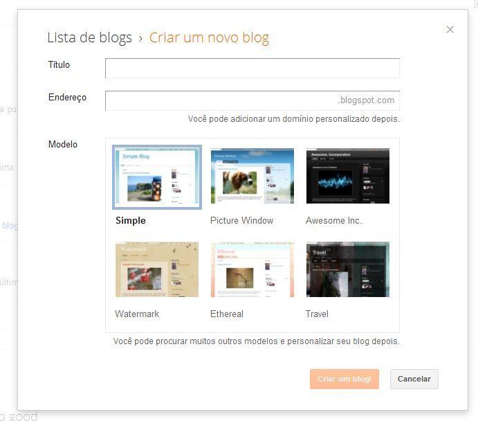 criar um blog, blogspot, novo painel