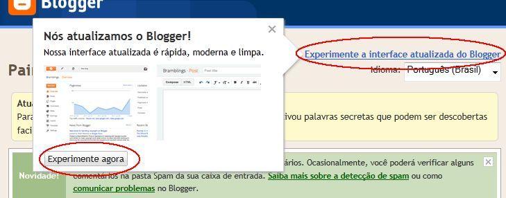 novo painel, blogger, blogspot