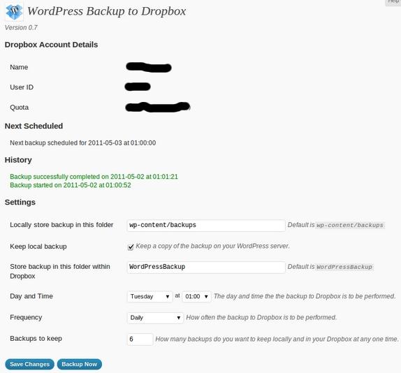 dropbox, wordpress, plugin, backup, automatico