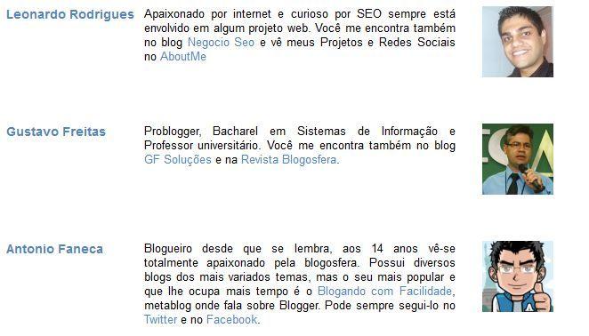 codigo relação de autores do blog