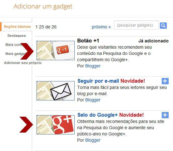 dois novos botões do google + para o blogger