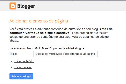 blogger adicionar elemento de pagina