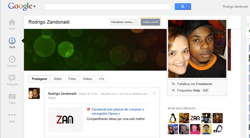 editar perfil no google plus