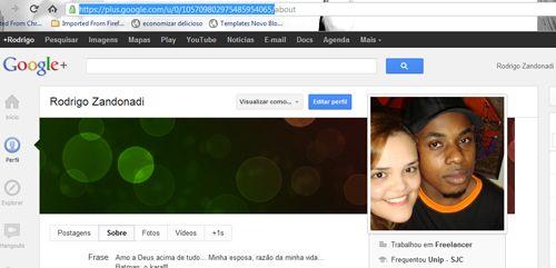 pegando url google plus
