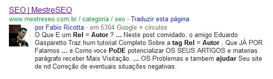 perfil do Fabio Ricotta do Mestre SEO nos resultados do Google