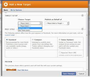 adicionar new target configurações