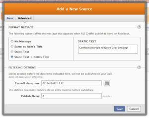 new source configurações avançadas