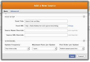 new source configurações básicas