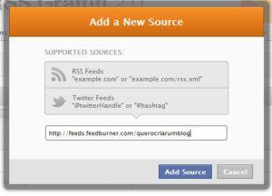 new source inserir endereço de feed