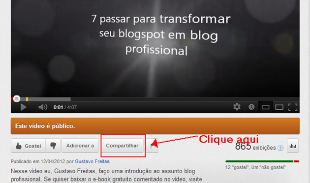 Colocar vídeos do Youtube no blog