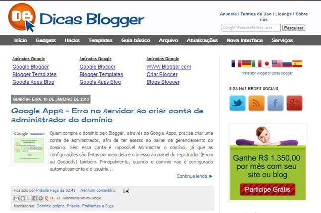 dicas blogger no Quero Criar um Blog