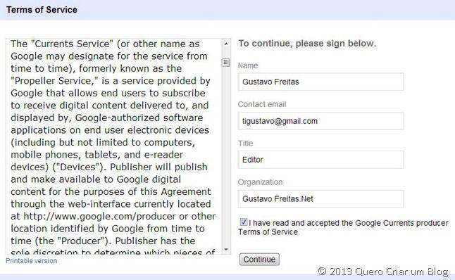 cadastrar blog Google Currents