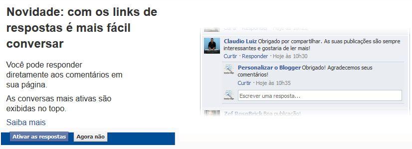 respostas no facebook