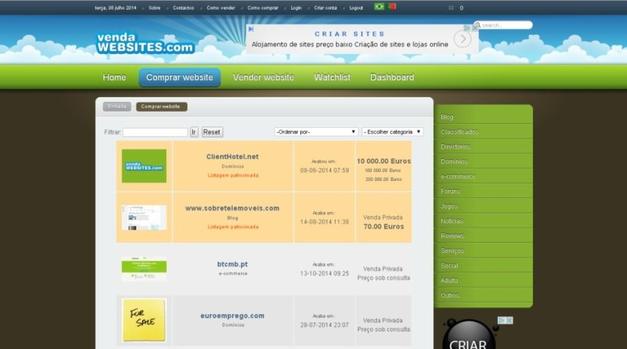 Websites a venda