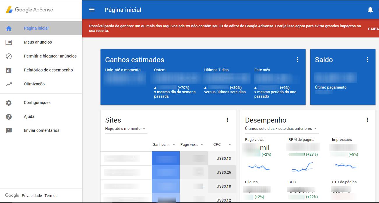 Possível perda de ganhos um ou mais dos arquivos ads.txt não contêm seu ID do editor do Google AdSense
